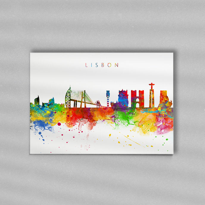 Lisbon Skyline Art Print  | Minimalist Watercolor Art Print Poster Gift Idea For Him Or Her | Wall Art | City Skyline | City Prints
