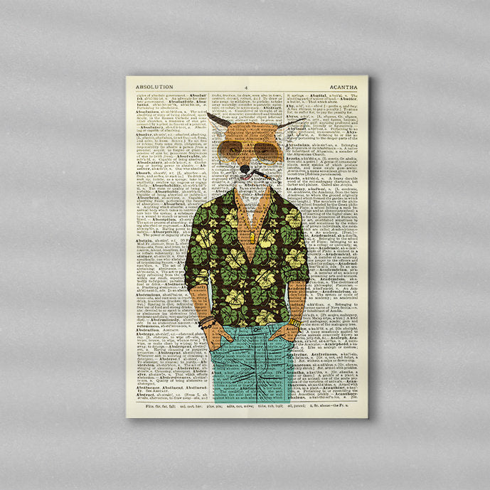 Dictionary Print \  #73 Gangster Fox \ Dictionary Art / Dictionary Page | Nursery Art | Vintage Poster | Gift for her | Gift for Mum