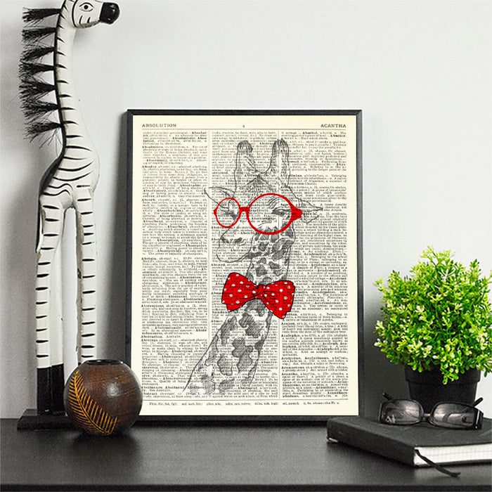 Dictionary Print \  #21 Giraffe Dickie Bow \ Dictionary Art / Dictionary Page | Nursery Art | Vintage Poster | Gift for her