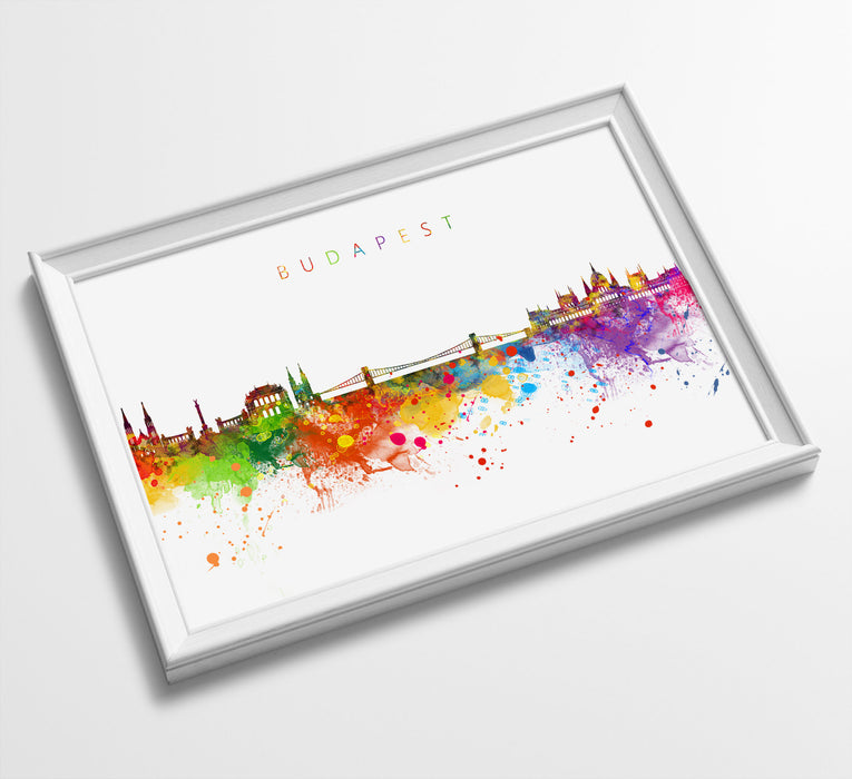 Budapest Skyline Art Print  | Minimalist Watercolor Art Print Poster Gift Idea For Him Or Her | Wall Art | City Skyline | City Prints