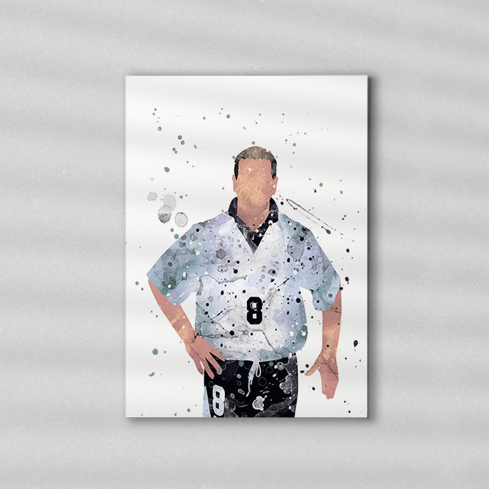Gascoigne England Minimalist Watercolor Art Print Poster Gift Idea For Him Or Her | Football | Soccer