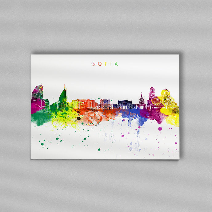 Sofia Skyline Art Print  | Minimalist Watercolor Art Print Poster Gift Idea For Him Or Her | Wall Art | City Skyline | City Prints