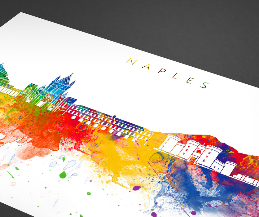 Naples Skyline Art Print  | Minimalist Watercolor Art Print Poster Gift Idea For Him Or Her | Wall Art | City Skyline | City Prints