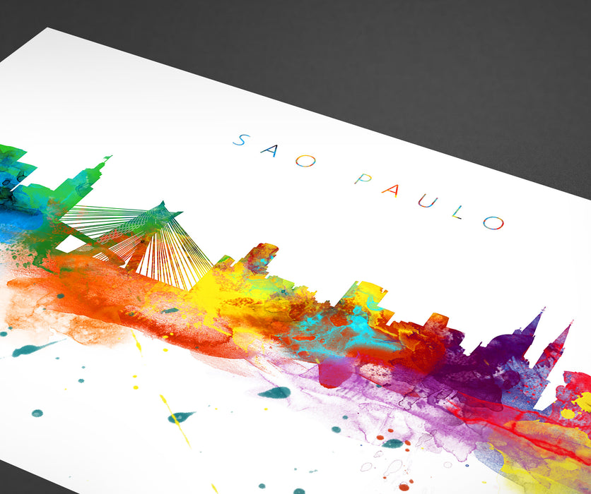 Sao Paulo Skyline Art Print  | Minimalist Watercolor Art Print Poster Gift Idea For Him Or Her | Wall Art | City Skyline | City Prints