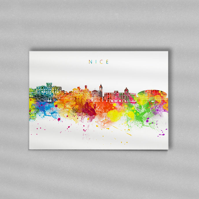 Nice Skyline Art Print  | Minimalist Watercolor Art Print Poster Gift Idea For Him Or Her | Wall Art | City Skyline | City Prints