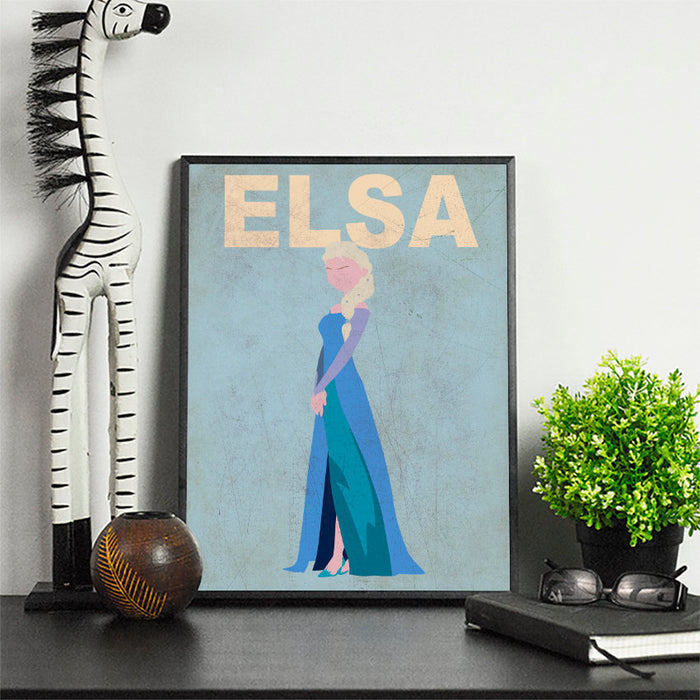 Elsa Minimalist Art Print Poster Gift Idea For Him Or Her | Disney Princess Prints