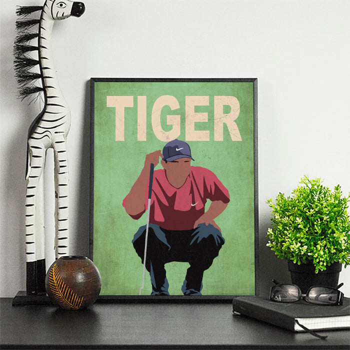 Tiger Golf Artwork | Minimalist Art Print Poster Gift Idea For Him | Golf Print | Golfer | Gift for Husband Boyfriend