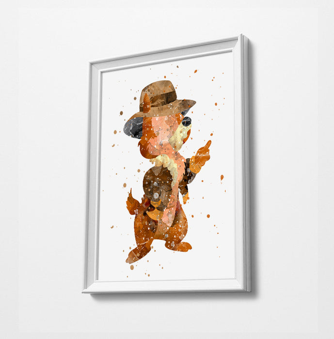 Chip n Dale Minimalist Watercolor Art Print Poster Gift Idea For Him Or Her | Nursery Art |