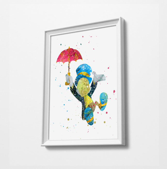 Jiminy Cricket | Minimalist Watercolor Art Print Poster Gift Idea For Him Or Her | Nursery Art |