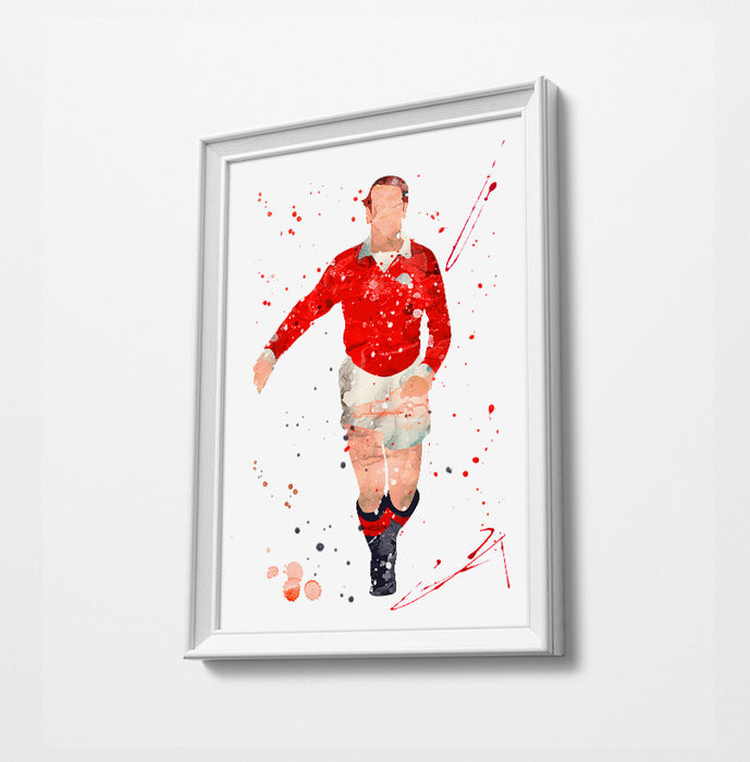 Bobby Minimalist Watercolor Art Print Poster Gift Idea For Him Or Her | Football | Soccer | Manchester