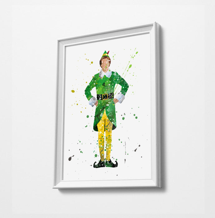 Buddy | Minimalist Watercolor Art Print Poster Gift Idea For Him Or Her | Nursery Art | Christmas Elf