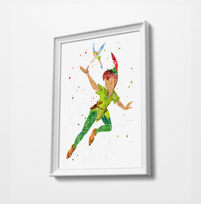 Peter Pan & Tinkerbell | Minimalist Watercolor Art Print Poster Gift Idea For Him Or Her | Nursery Art | Disney Prints