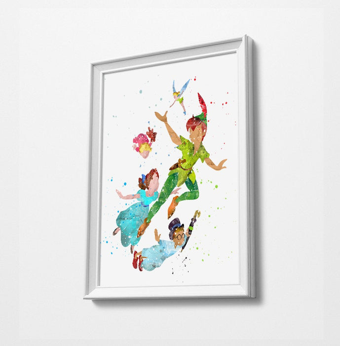 Peter Pan, Wendy & Family | Minimalist Watercolor Art Print Poster Gift Idea For Him Or Her | Nursery Art | Disney Prints