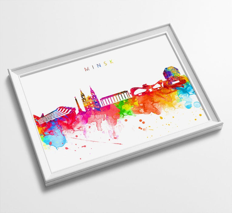 Minsk Skyline Art Print  | Minimalist Watercolor Art Print Poster | Gift Idea For Him Or Her | Wall Art | City Skyline | City Prints