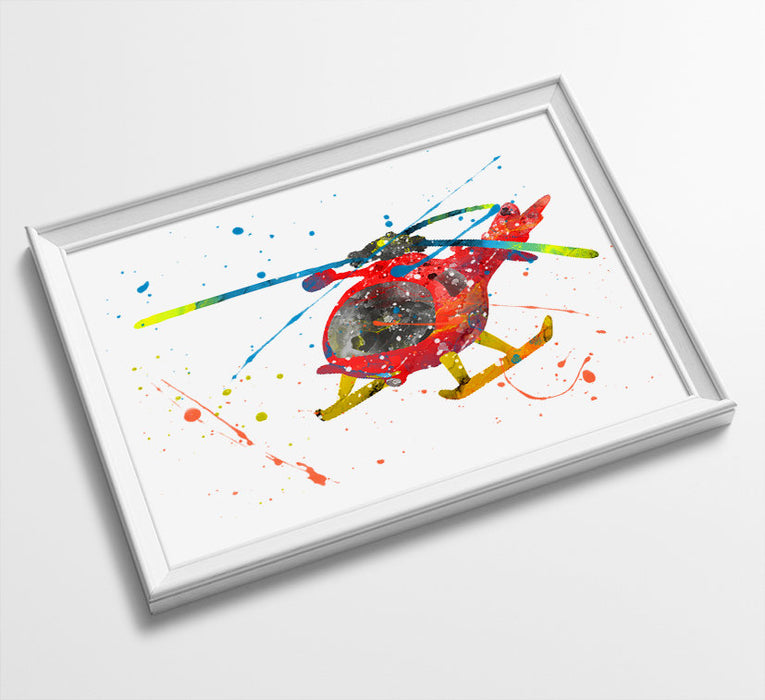 Helicopter | Fireman Sam | Minimalist Watercolor Art Print Poster Gift Idea For Him | Boys Room | Nursery Art