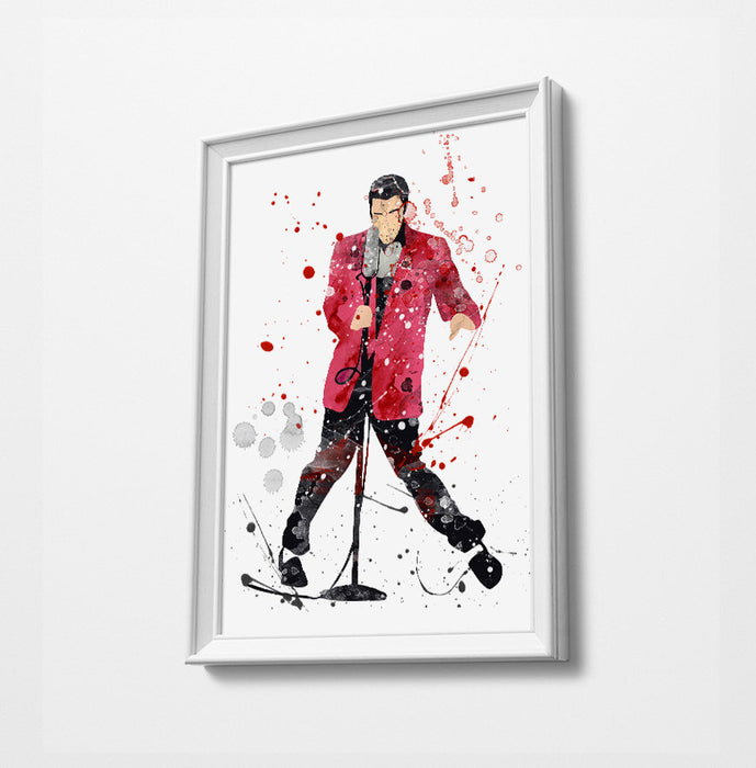 Elvis Pink Jacket Minimalist Watercolor Art Print Poster Gift Idea For Him Or Her Music Poster