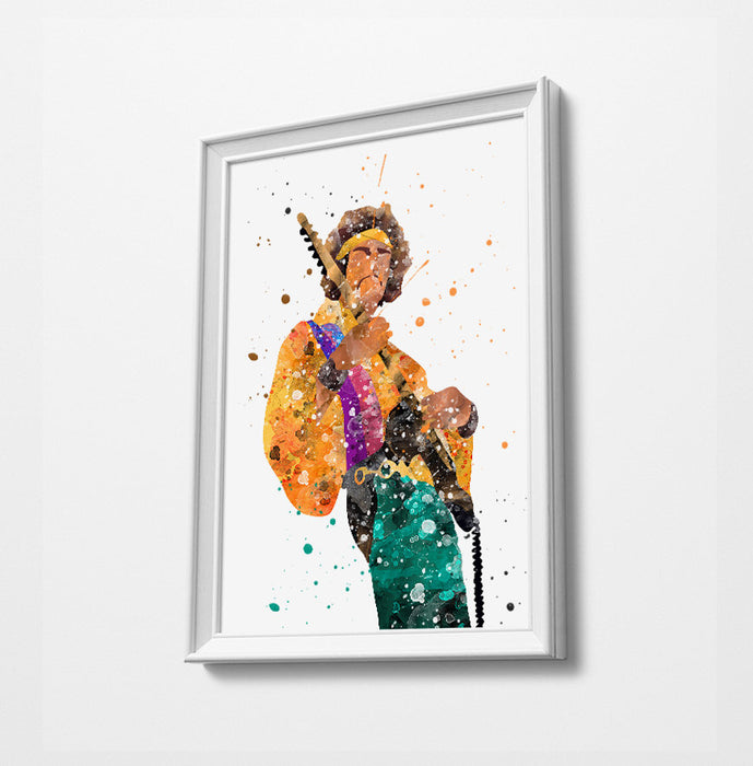 J Hendrix | Minimalist Watercolor Art Print Poster Gift Idea For Him Or Her | Music Art Print |
