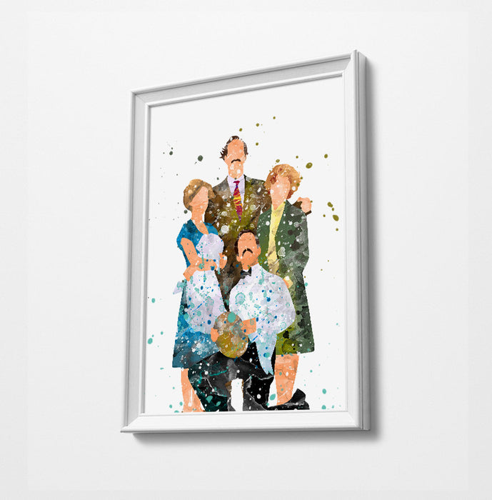 Fawlty Hotel Family Minimalist Art | Watercolor Art Print Poster Gift Idea For Him Or Her | British Tv Comedy