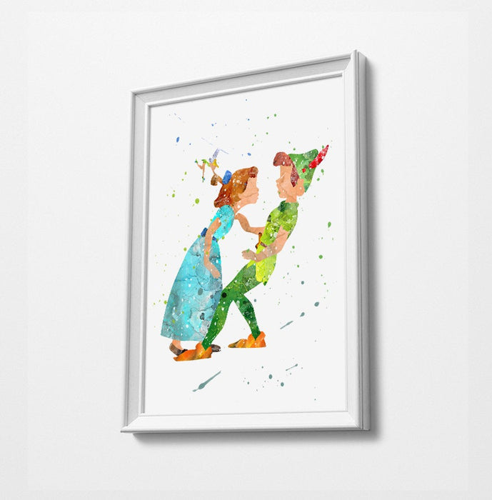Peter Pan, Wendy & Tinker bell | Minimalist Watercolor Art Print Poster Gift Idea For Him Or Her | Nursery Art | Disney Prints