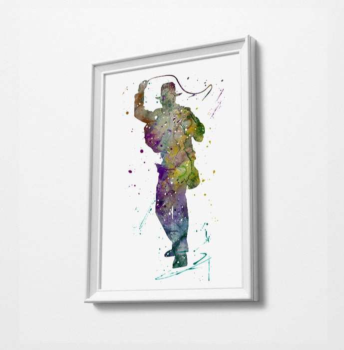 Indiana | Movie Minimalist Watercolor Art Print Poster Gift Idea For Him Or Her