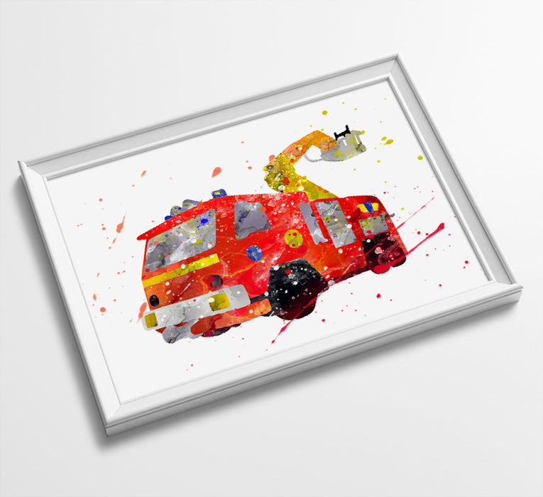 Firetruck | Fireman Sam Truck | Minimalist Watercolor Art Print Poster Gift Idea For Him | Boys Room | Nursery Art