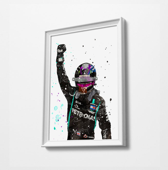 Lewis 2020 World Champion Minimalist Watercolor Art Print |  Poster Gift Idea For Him Or Her | F1