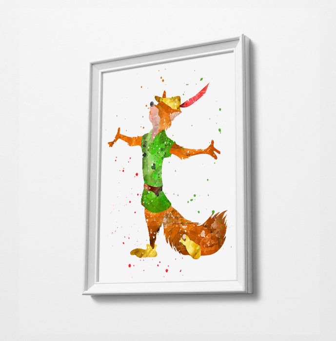 Minimalist Watercolor Art Print Poster Gift Idea For Him Or Her | Disney Prints | Robin Hood