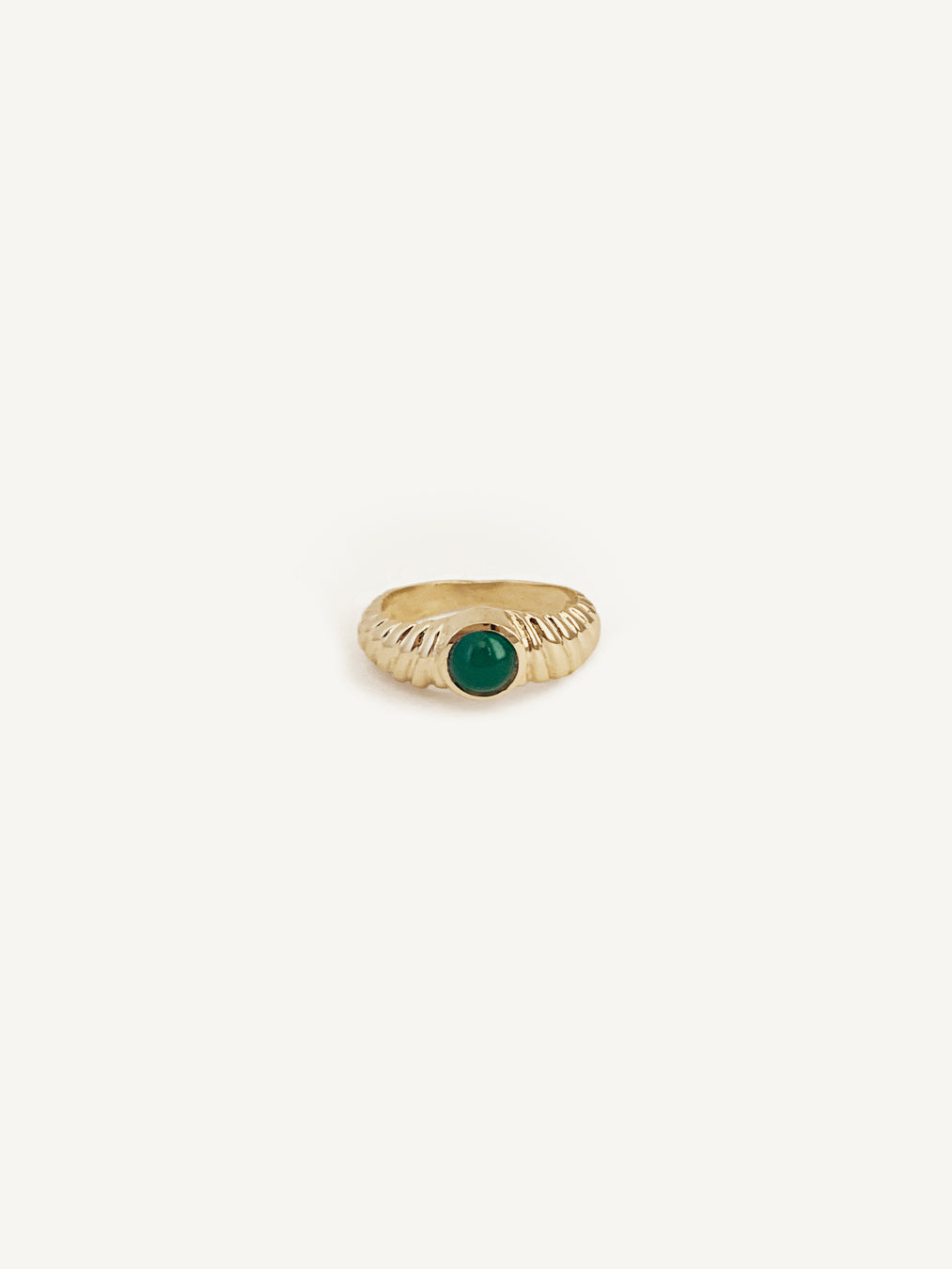 14k Emerald Pleated Ring