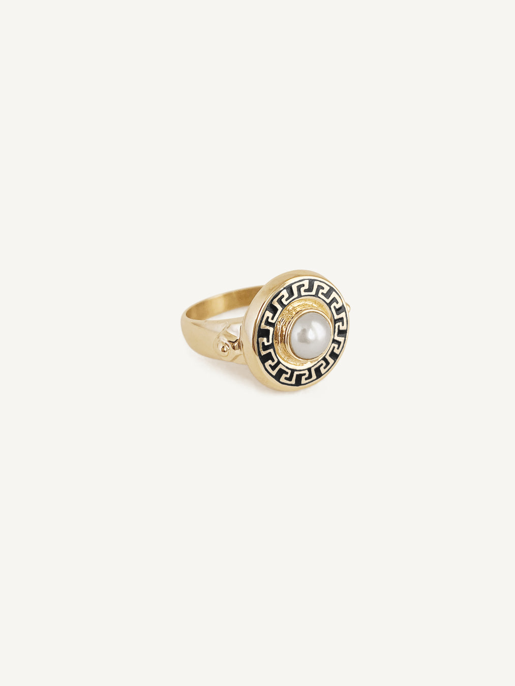 14k Pearl and Onyx Ring