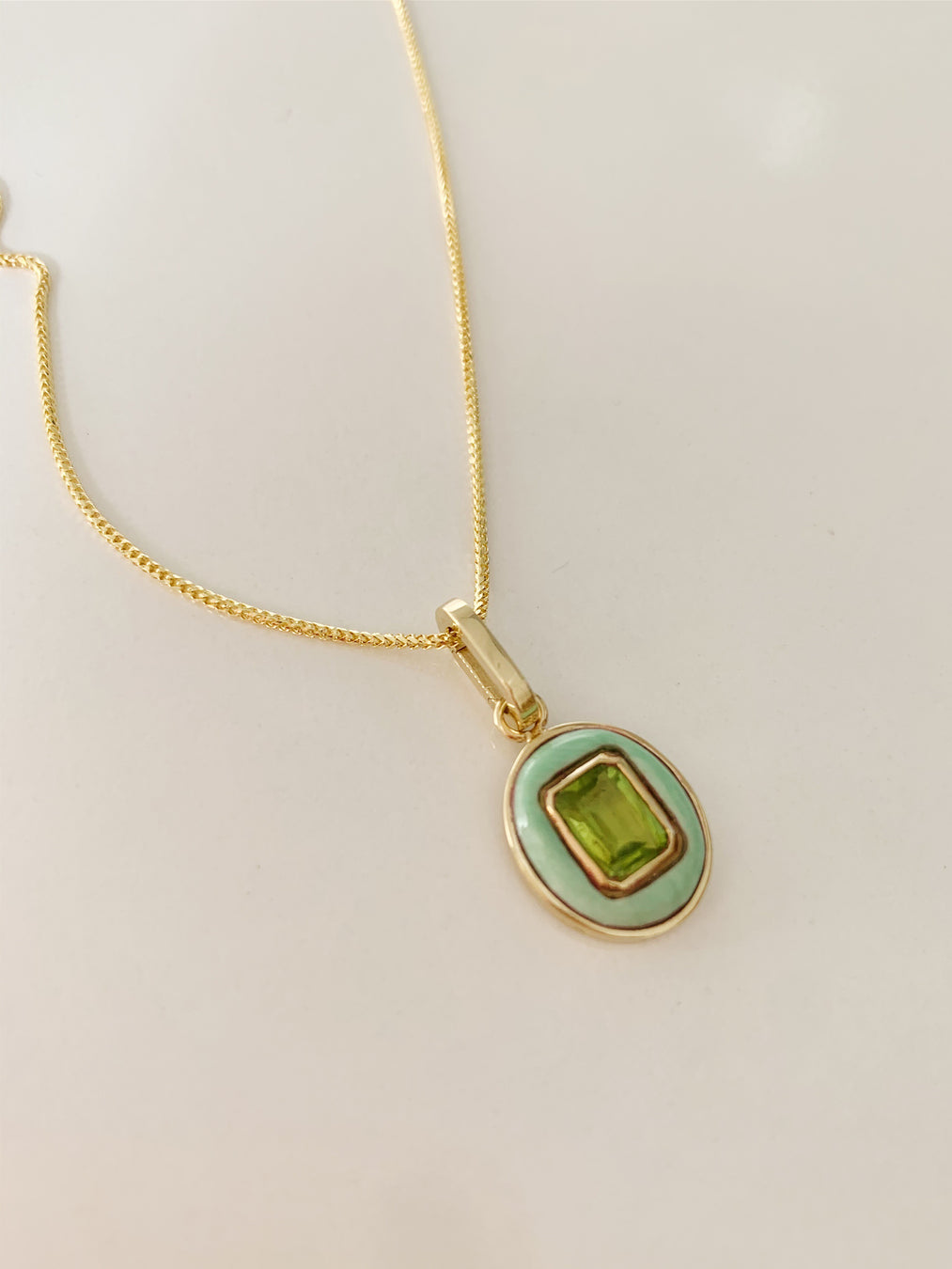 14k Peridot and Opal Pendant