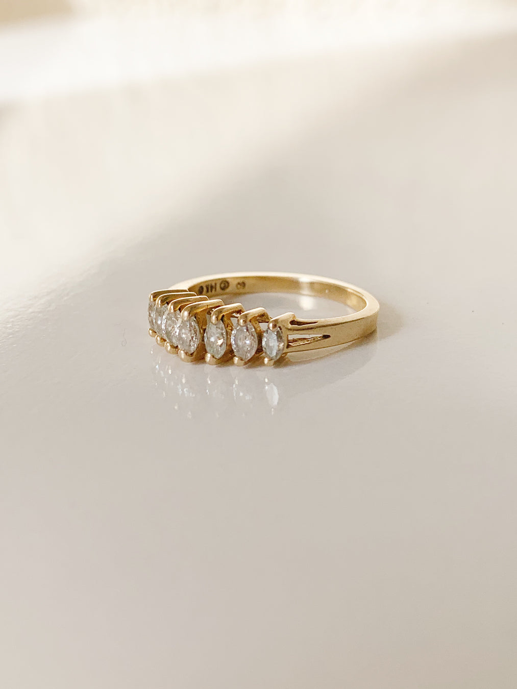 14k Seven Marquise Diamond Ring