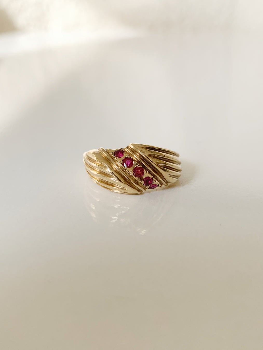 14k Ruby Pleated Ring