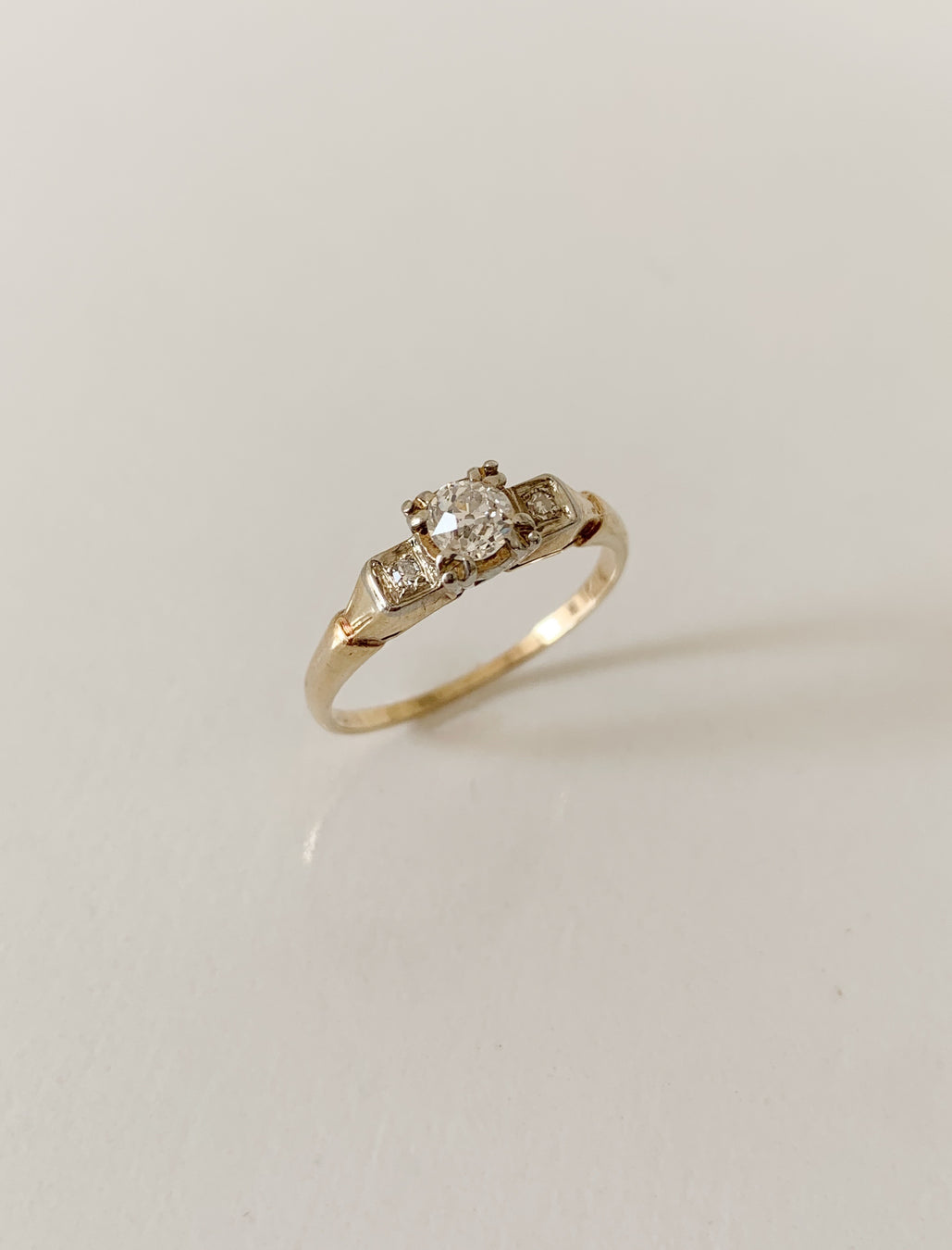 14k Old Mine Cut Diamond Ring