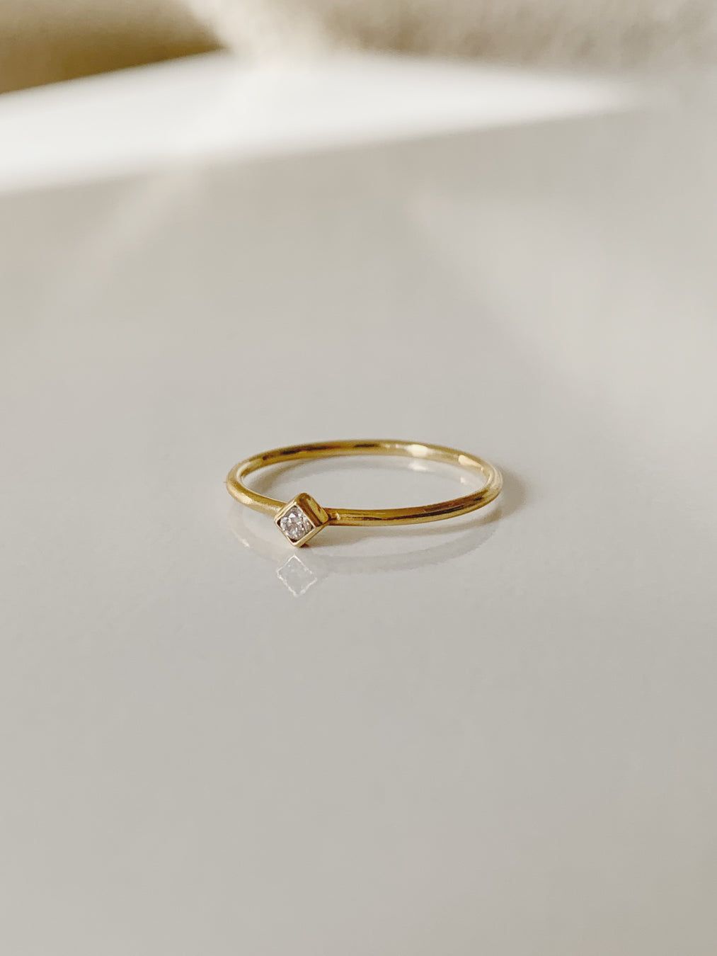 14k Rectangle Diamond Ring