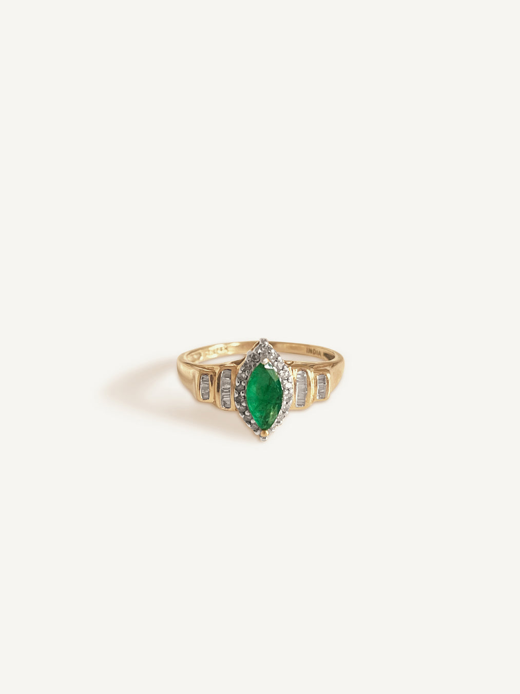 14k Marquise Emerald Ring With Diamonds II