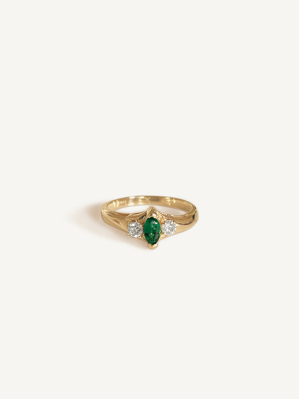 14k Marquise Emerald Ring With Diamonds
