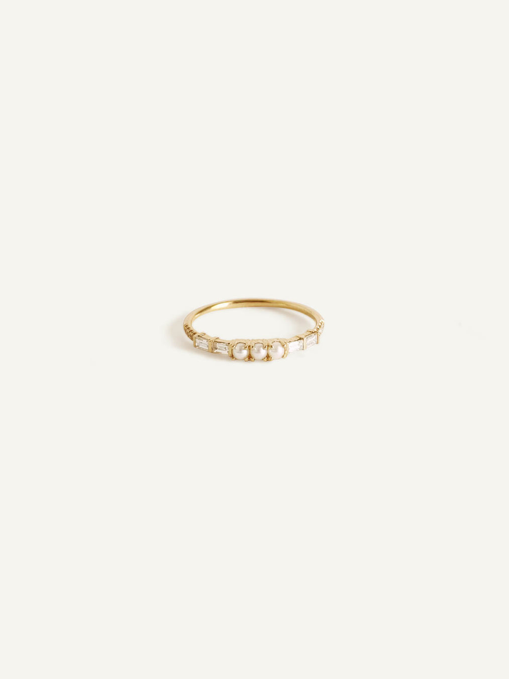 14k Baguette Diamond and Pearl Ring