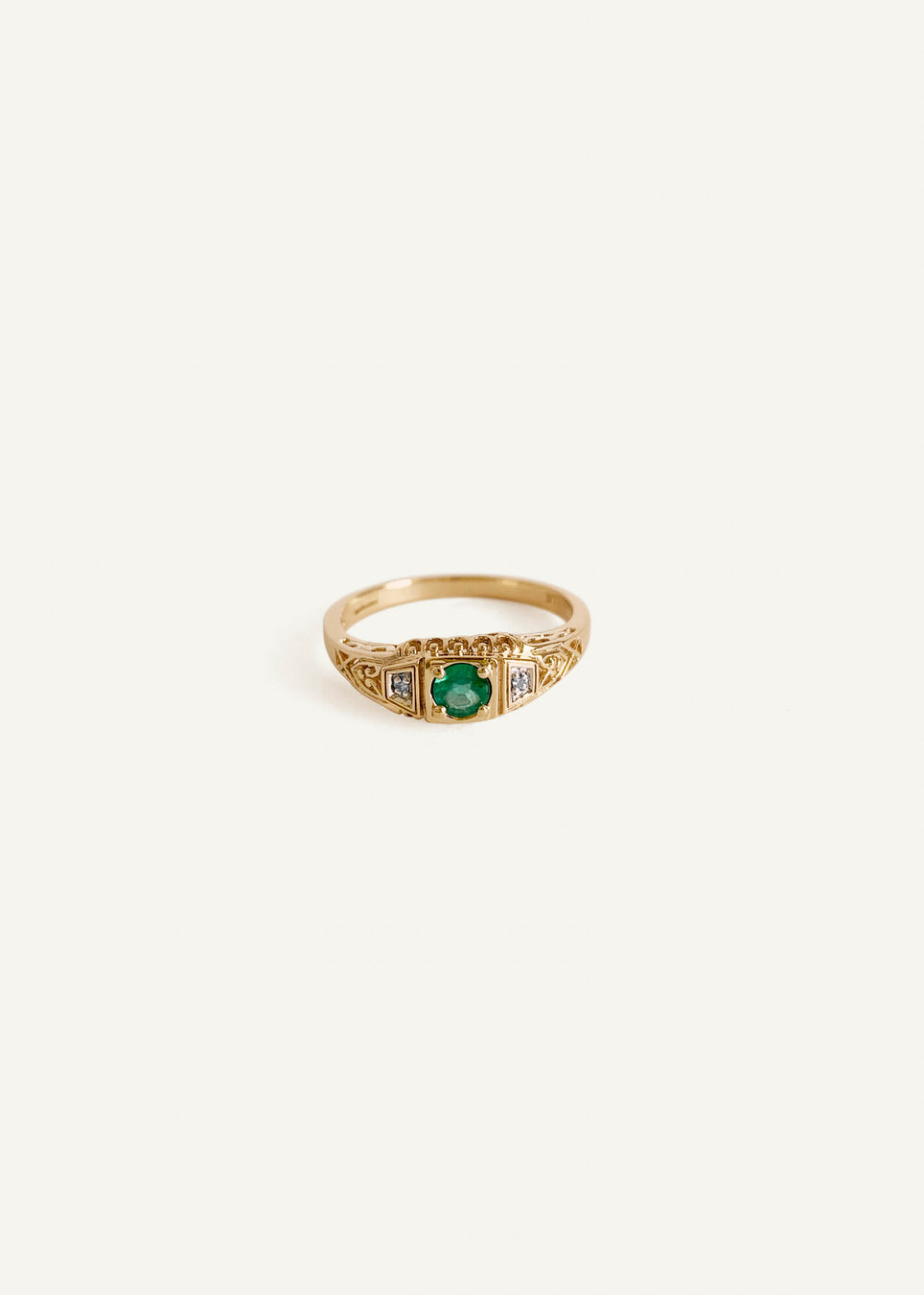 14k Emerald Art Deco Ring