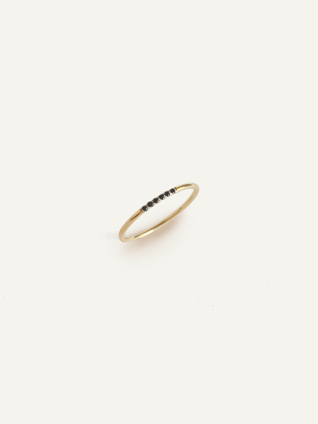 14k Black Diamond Line Ring