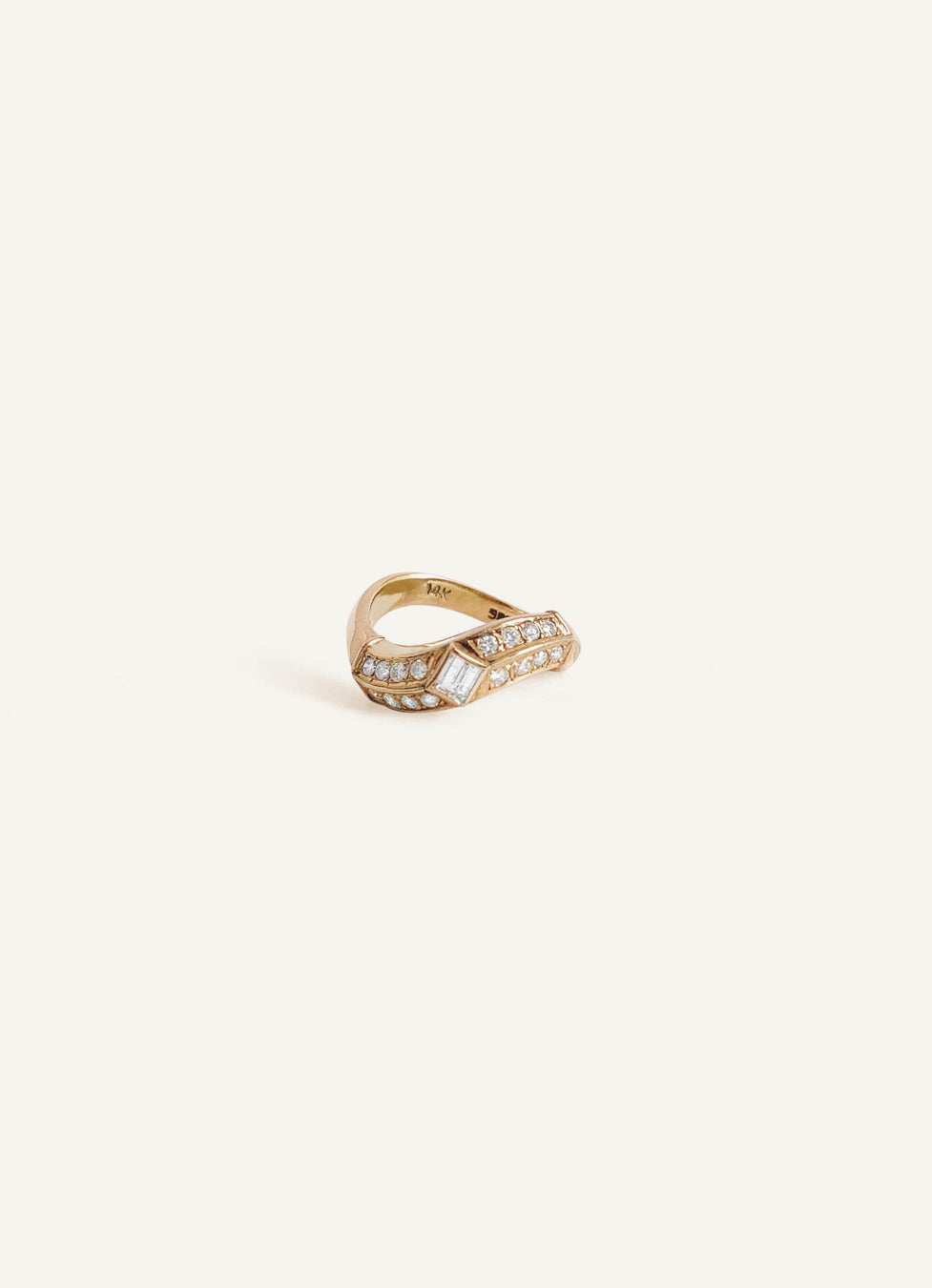 14k Baguette Diamond Curved Ring