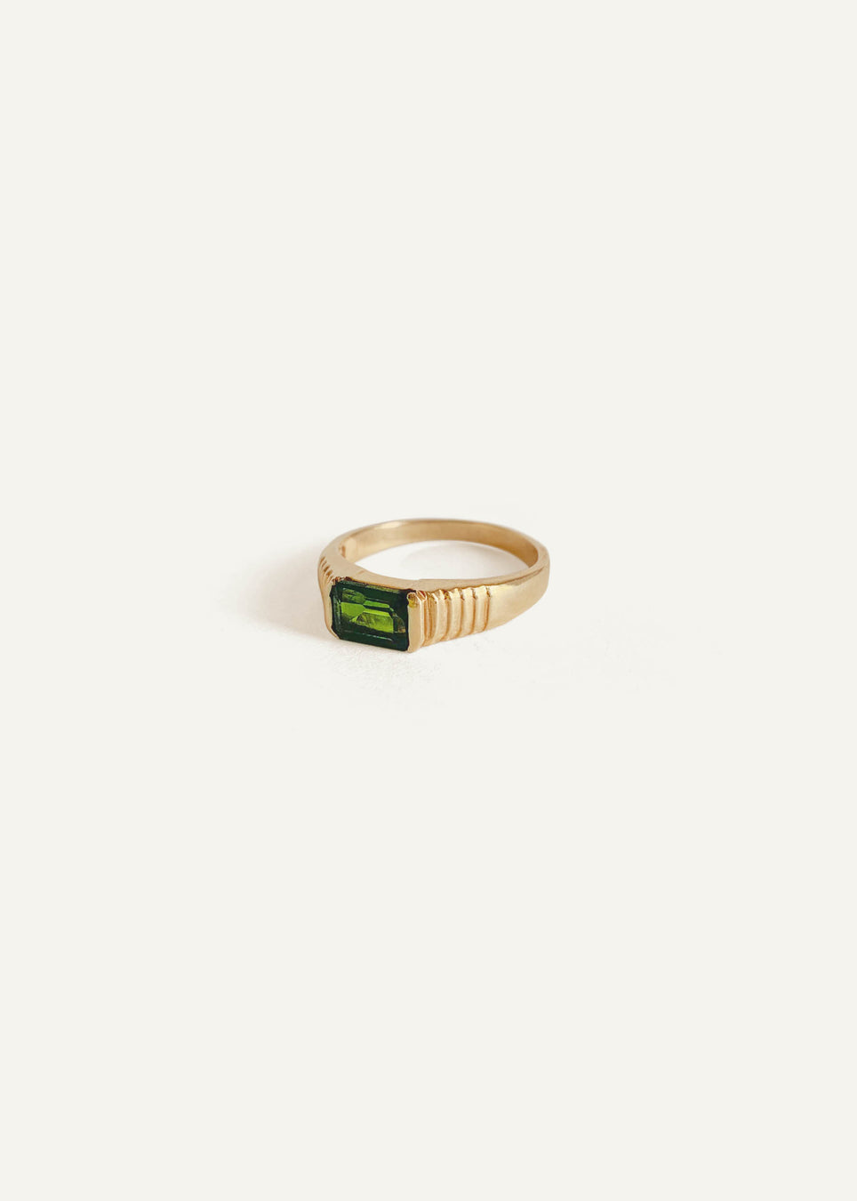 14k Emerald Cut Tourmaline Ring