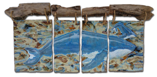 Maui Humpback Whale and Calf Four-Panel Driftwood Design - Maui Ceramics
