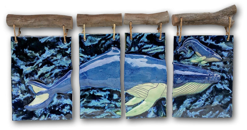 Maui Humpback Whale and Calf Four-Panel Driftwood Design, Whale Wall Art - Maui Ceramics