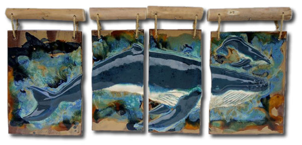 Maui Humpback Whale and Calf Four panel w/Driftwood - Maui Ceramics
