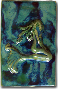 Ceramic Mermaid Design for Kitchen Backsplash Tile, Bathroom Tile, Wall Hanging - Maui Ceramics