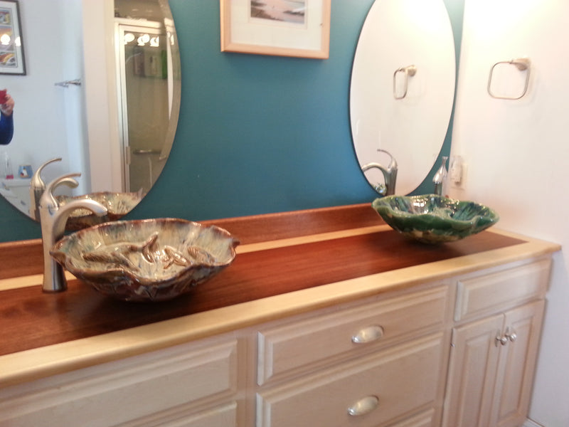 Earth-tone Above Vessel Sink With Tang Fish Relief & Ocean Blue Accent - Maui Ceramics