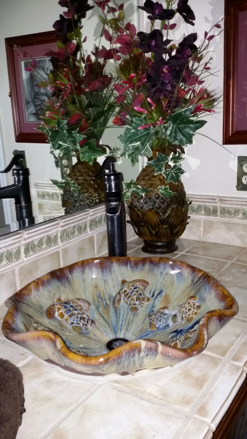 Blue, White & Green Scallop Rim Handcrafted Above Vessel Sink - Maui Ceramics