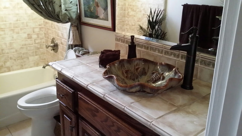 Hawaiian Sea Turtle Earth-Tone Above Vessel Ceramic Sink - Maui Ceramics