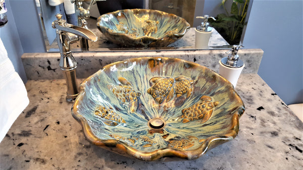 Handmade Blue Ceramic Sink With Turtle & Tropical Decor - Maui Ceramics