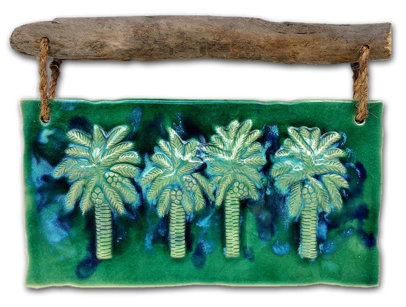 "Maui Swaying Palm Trees w/ Driftwood 17.5""x13"" DW27"